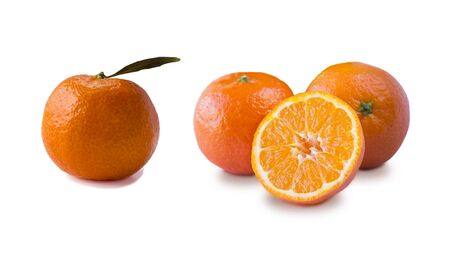 Ripe and tasty tangerines isolated on white background. Fresh clementines with copy space for text. Mandarin slice isolated on white background. Stock fotó