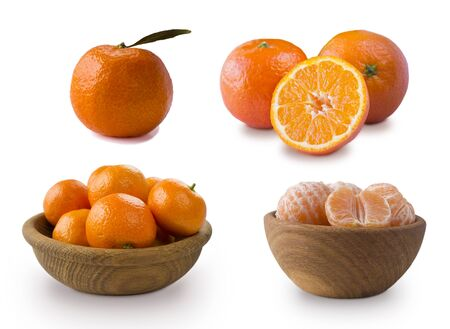 Clementines on a white background. Fresh tangerines with copy space for text. Slices of mandarin with leaves isolated on white background.Tangerines slices isolated on white background