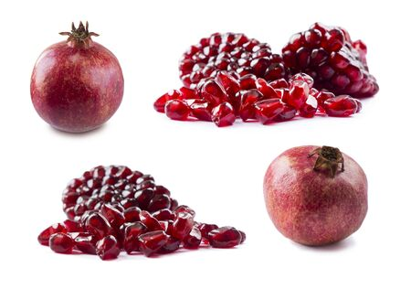 Pomegranate isolated on white background. Sweet and juicy garnet with copy space for text. Garnets isolated on white. Set of pomegranate seeds.  Stock fotó