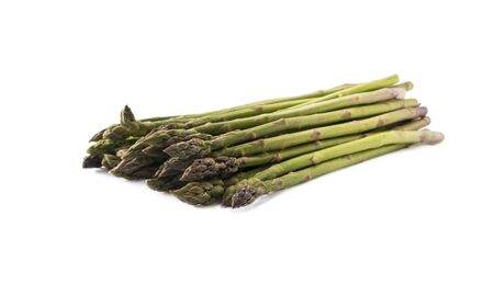 Bunched asparagus isolated on white background. Asparagus with copy space for text on white.
