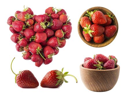 Strawberries isolated on white background. Set of strawberries from different angles on white. Sweet and juicy berry with copy space for text. Strawberries on white background. Various fresh summer berries. Top view.