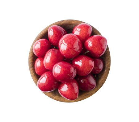 Fresh red cherries isolated on white. Cherry fruit with copy space for text. Sweet cherry isolated on white background cutout. Various summer berries. Ripe cherries hill isolated on white background.
