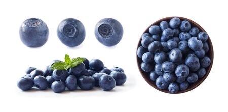 Bilberries isolated. Fresh raw berries isolated on white background. Collection. Blueberries on white background. Set of blueberries from different angles on white. Bilberries with copy space for text