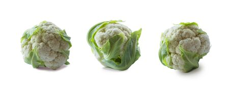 Top view. Ð¡auliflower isolated on white background. Ð¡auliflower with copy space for text. Ð¡auliflower on white background. Healthy food. Cabbage close up. Ð¡auliflowers from different angle