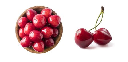 Fresh red cherry isolated on white. Cherry fruit with copy space for text. Sweet cherry isolated on white background cutout. Various summer berries. Two fresh cherries on white background. Berries fro