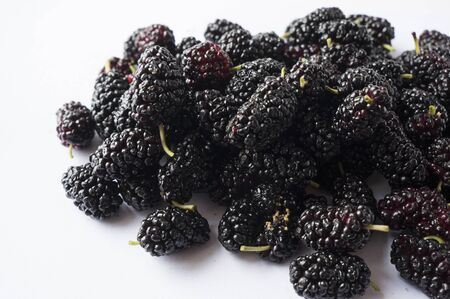 Mulberries with copy space for text. Black mulberry on white background. Ripe and tasty mulberry Top view.