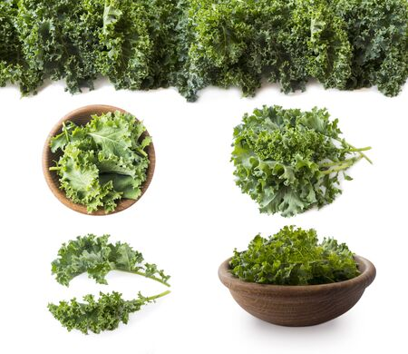 Kale leaves isolated on white background. Top view. Kale leaves with copy space for text. Herbs isolated on white. Kale in a wooden bowl on white background. Kale from different angles on white.