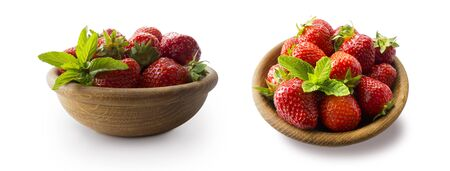 Strawberries in bowl isolated on white background. Ripe strawberries close-up. Sweet and juicy berry with copy space for text. Strawberries on white. Strawberries from different angles on white.