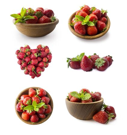 Strawberries isolated on white cutout. Berry with copy space for text. Various fresh summer fruits isolated on white. Set of strawberries isolated on white. Strawberry from different angles on white.