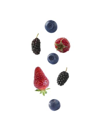 Isolated fresh berries float in the air. Falling mulberry, blueberry, raspberry and strawberry fruits isolated on white background Imagens