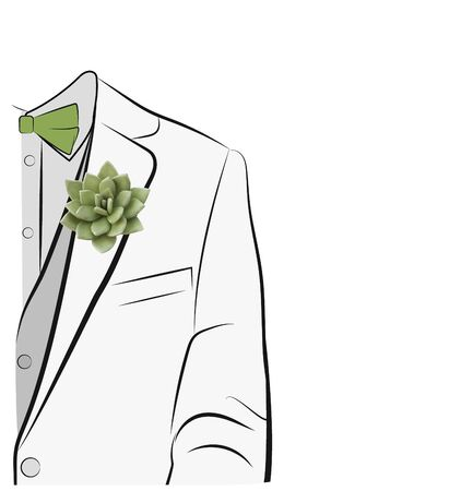 Wedding boutonniere and silhouette of the groom. Wedding suit groom without face isolated on white background. Illustration. Copy space. Imagens