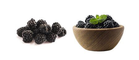 Blackberries isolated on white background. Blackberries with copy space for text. Set of blackberries from different angles. Sweet and juicy berry. Heap of blackberries on white background. Black berry. Imagens