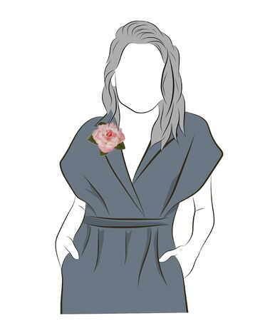 Silhouette of a young woman, boutonniere on a lapel dress. Rose brooch on a dress. Sketch of dress with a brooch isolated on white background. Copy space. Illustration.