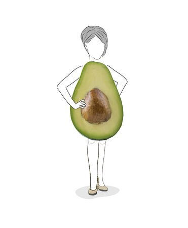 Avocado featuring Women's shape. Figure of a young women isolated on white background. Types of female figures. Avocado or triangle women body type figure sketch. Copy space. Illustration. Imagens