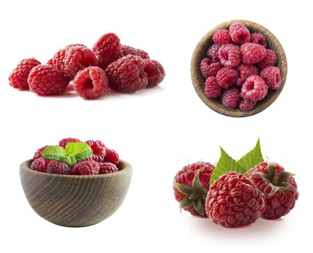 Raspberries isolated on white background. Raspberry with copy space for text. Raspberries isolation. Set of raspberries from different angles on white. Antiviral treatment. Coronavirus prevention. Imagens