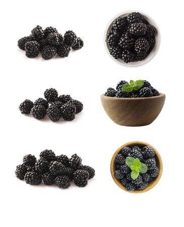 Blackberries isolated on white background. Blackberries with copy space for text. Blackberries from different angles. Sweet and juicy berry. Heap of blackberries on white background. Imagens