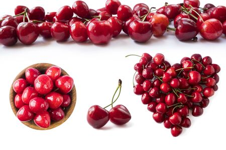 Red cherries isolated on white cutout. Berry with copy space for text. Various fresh summer fruits isolated on white. Ripe cherries isolated on white background. Cherry from different angles on white. Immunity system improvement. Antiviral treatment. Coronavirus prevention.