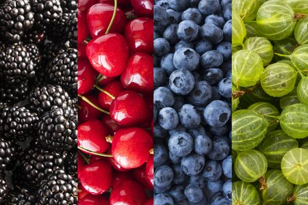 Background of blackberry, cherry, blueberry and gooseberry. Top view. Ð¡ollage of different berries and fruits. background of colorful berries. Immunity system improvement. Coronavirus prevention. Imagens