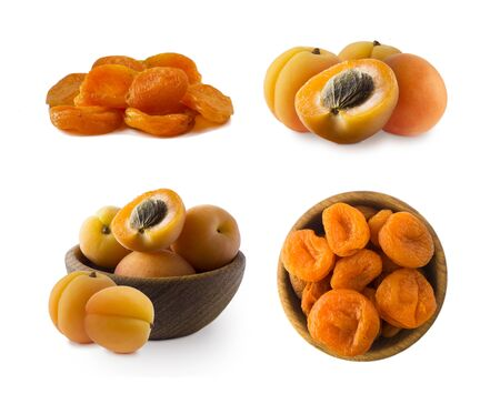 Ripe and dried apricots. Fresh and dried apricots isolate on white background. Apricots and dried apricots with copy space for text. Immunity system improvement. Antiviral treatment. Coronavirus prevention.