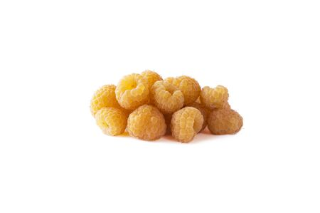 Raspberry isolation. Yellow raspberries isolated on white. Juicy and delicious yellow raspberry with copy space for text. Immunity system improvement. Antiviral treatment. Coronavirus prevention. Imagens