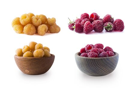 Raspberry isolation. Yellow and red raspberries isolated on white background. Juicy and delicious yellow and red raspberry with copy space for text. Set of yellow raspberry from different angles.