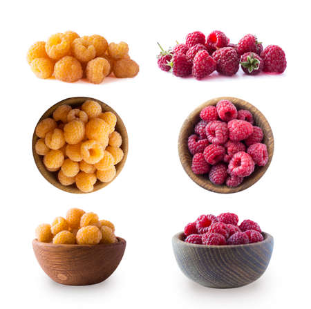 Raspberry isolation. Yellow and red raspberries isolated on white background. Yellow and red raspberry with copy space for text. Set of yellow raspberry from different angles. Top view.