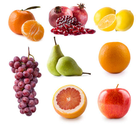 apple, pear, grape, mandarin, orange, grapefruit, pomegranate and lemon isolated. Autumn fruits with copy space for text. fruits from the autumn blues, isolated. Antiviral treatment. Virus prevention.