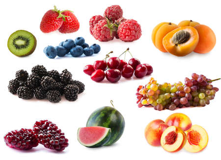 Fruits and berries isolate. Fresh berries and fruits on white. Nectarine, apricot, blueberry, raspberry, strawberry, watermelon, blackberry, pomegranate, cherry, kiwi, grapes. Antiviral treatment.