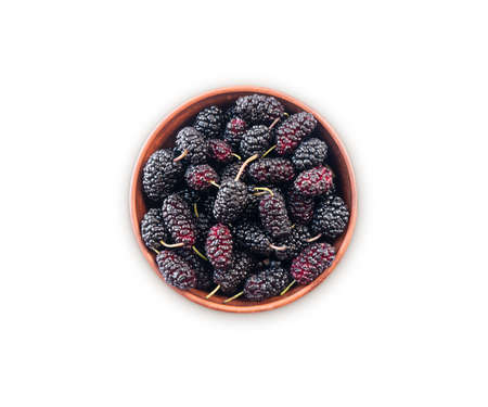 Blueberries in bowl isolated on white background. Black mulberry on white background. Ripe and tasty berry with copy space for text. Sweet and juicy mulberry isolated on white background. Top view. 免版税图像