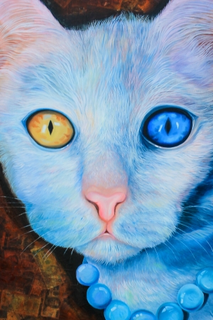 Blue cat painting art from Thailand photo