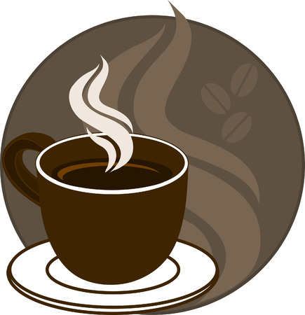 java: Mug with steaming coffee