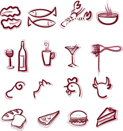 shellfish: Set of restaurant menu icons