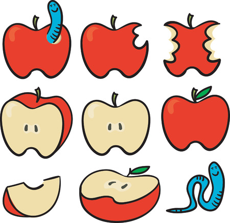 apple worm: 8 red apples set and a worm