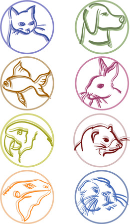 8 most common pet icons Vector