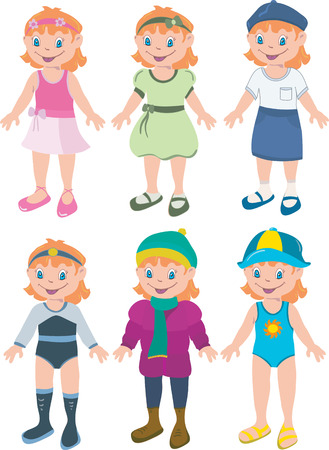 Girl with six different outfits that mix match Vector