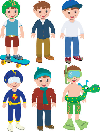 Boy in six different outfits that mix match Vector