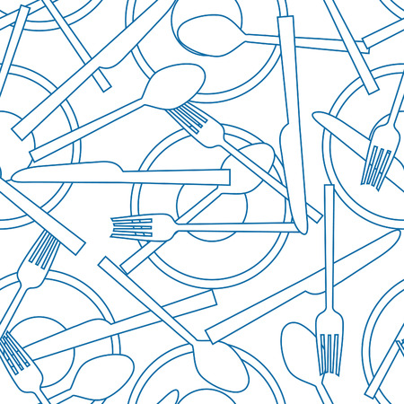 flatware: seamless pattern of flatware and dishes  Illustration