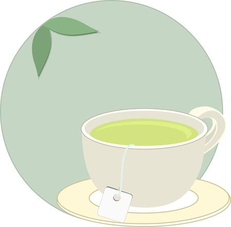 Cup of freshly brewed herbal tea  Vector