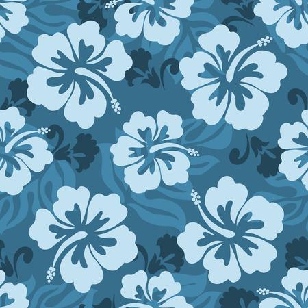 hibisco: Flores y hojas de patr�n transparente de Hibiscus hawaiano