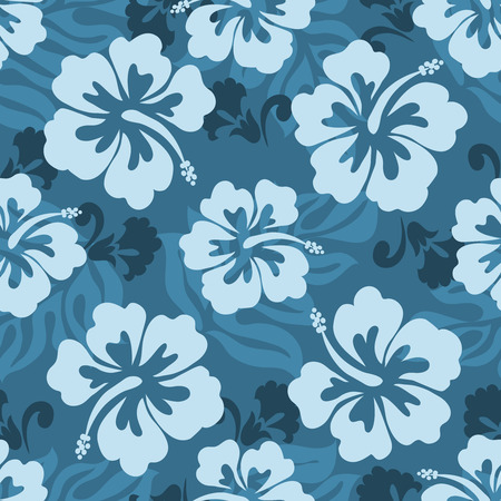 hibiszkusz: Seamless pattern of Hawaiian Hibiscus flowers and leaves
