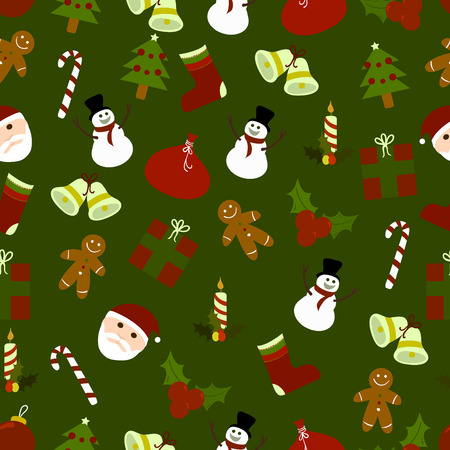 Seamless pattern of christmas ornaments  Vector