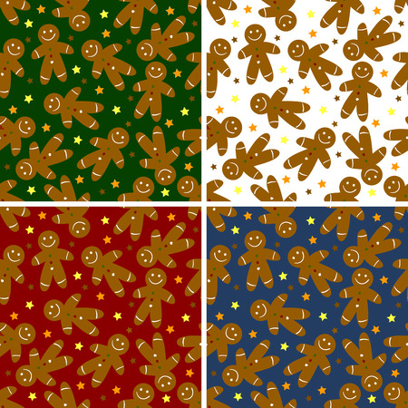 Seamless Christmas ginger bread  and stars pattern  Vector