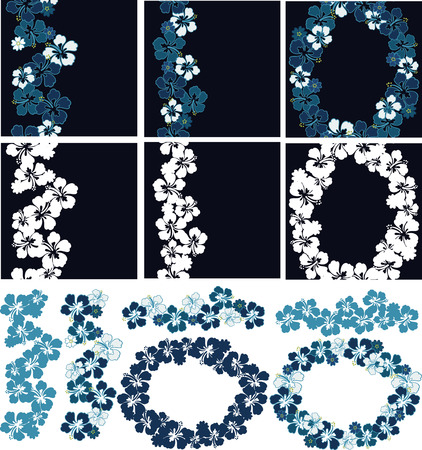 Three Hibiscus Garlands with seamless repeat, separate ornaments. In color or duo-tone.  Vector