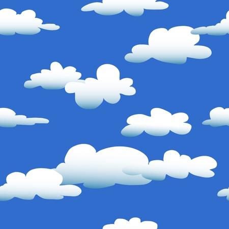 seamless sky: Seamless pattern of cartoon style clouds