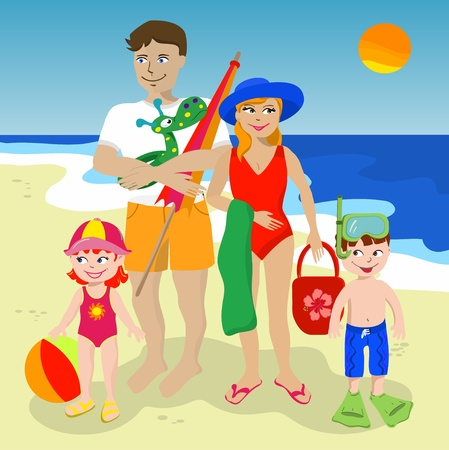 family vacations: Family of four at the beach  Illustration
