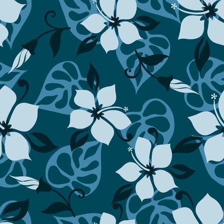 Hawaiian style seamless flower pattern  Vector