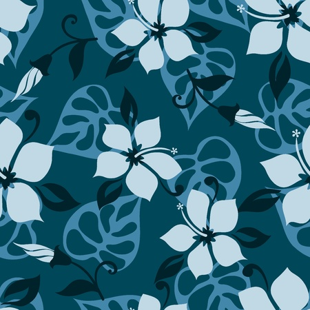 Hawaiian style seamless flower pattern Stock Vector - 10427143