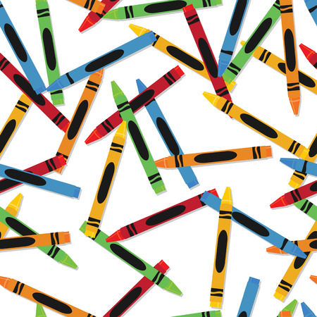 assignments: Seamless patter of various colorful crayons children Illustration
