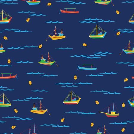 fishing boats: Seamless pattern of colorful fishing boats and waves Illustration