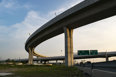 The industrial ring road. View from the bottom of the elevated sky